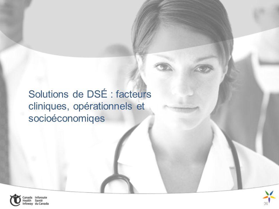 Solutions de DSÉ : facteurs cliniques, opérationnels et socioéconomiqes