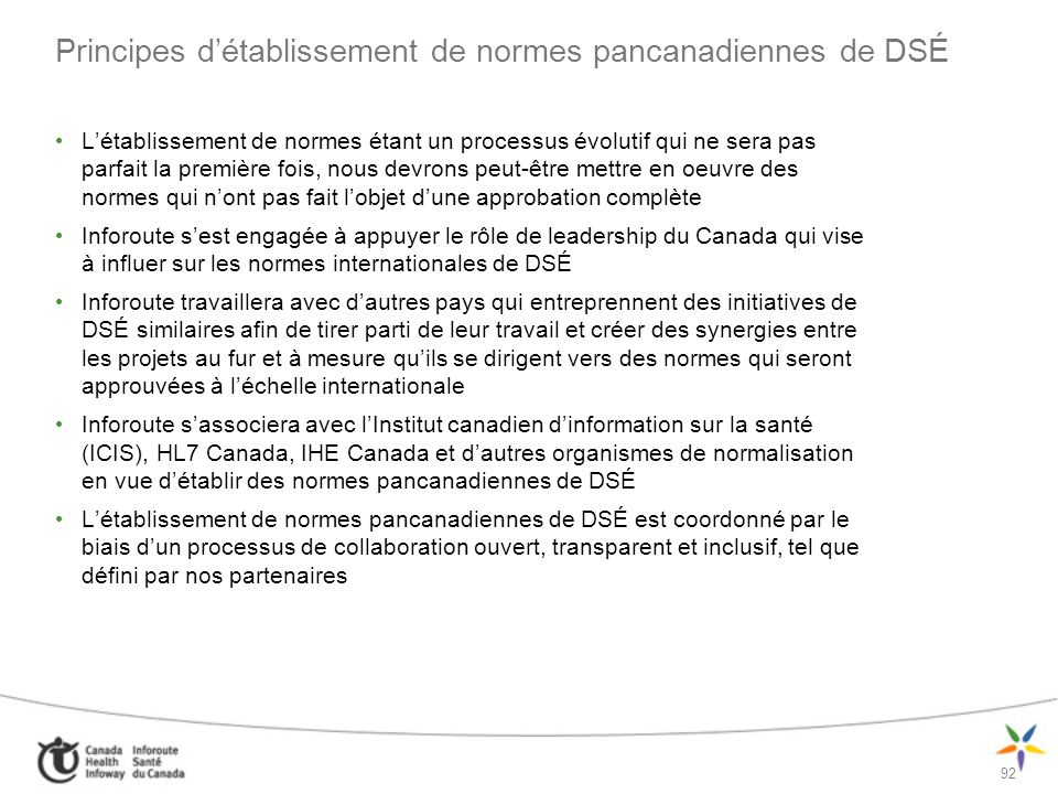 Principes d'établissement de normes pancanadiennes de DSÉ