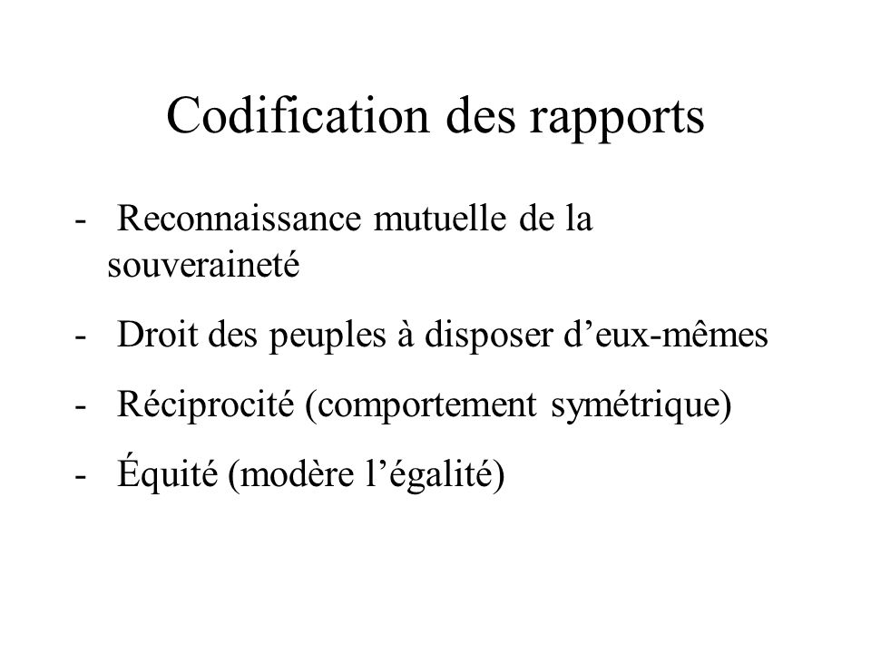 Codification des rapports