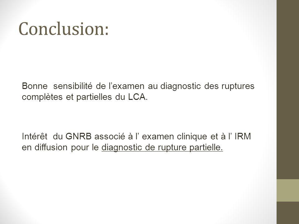 Conclusion: Bonne sensibilité de l'examen au diagnostic des ruptures complètes et partielles du LCA.