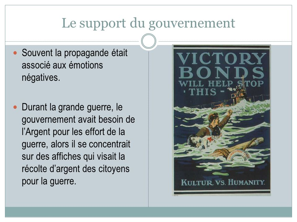 Le support du gouvernement