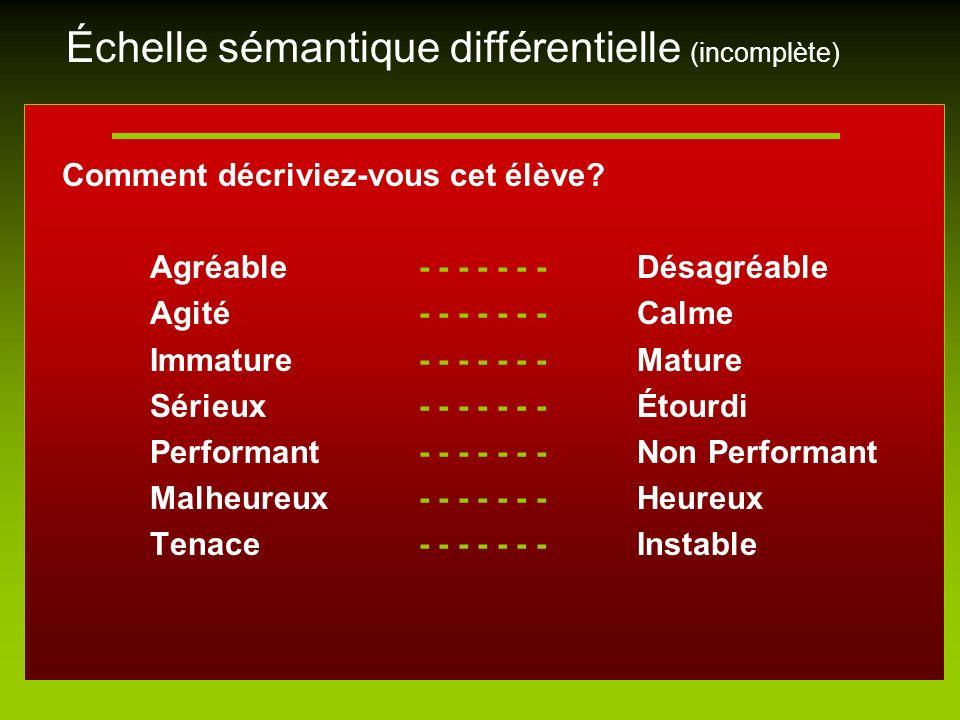 Échelle sémantique différentielle (incomplète)