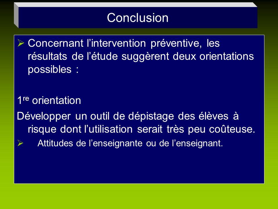 ConclusionConcernant l'intervention préventive, les résultats de l'étude suggèrent deux orientations possibles :