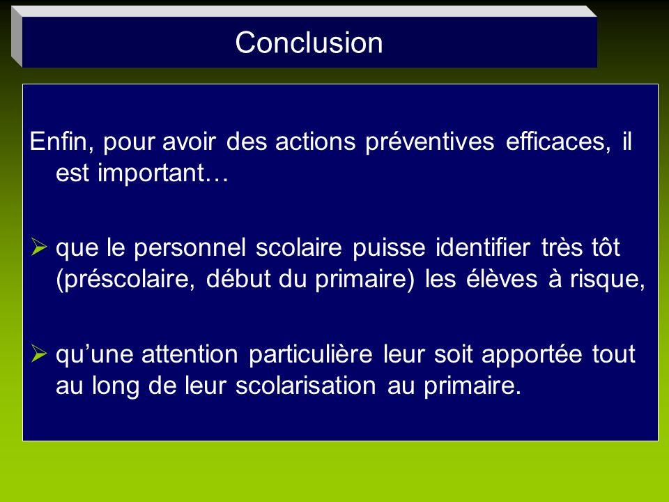 Conclusion Enfin, pour avoir des actions préventives efficaces, il est important…
