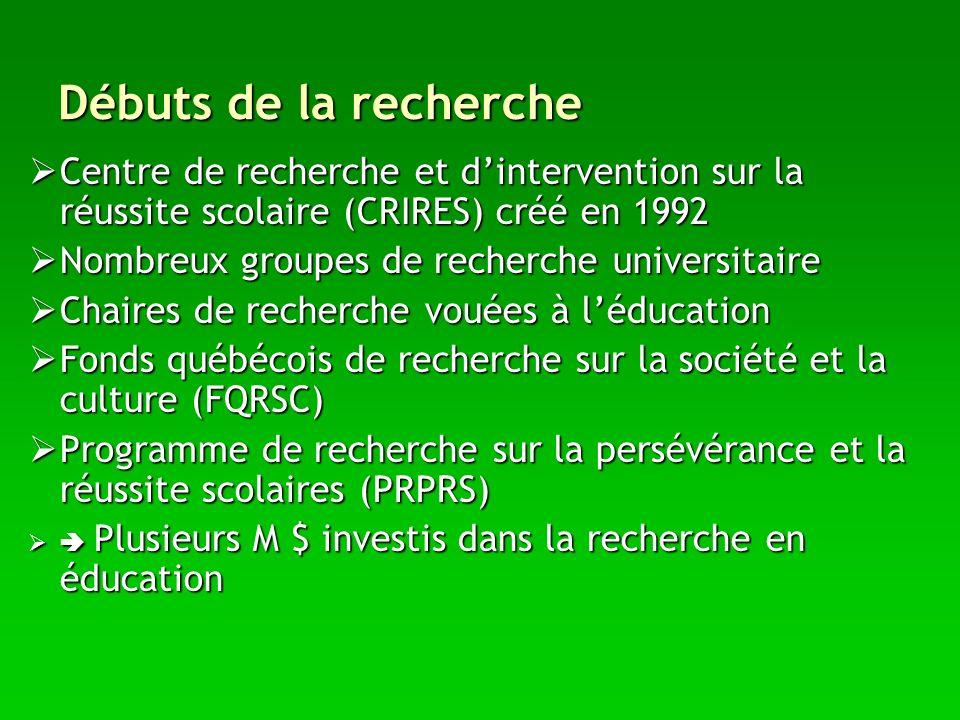 Débuts de la recherche Centre de recherche et d'intervention sur la réussite scolaire (CRIRES) créé en 1992.