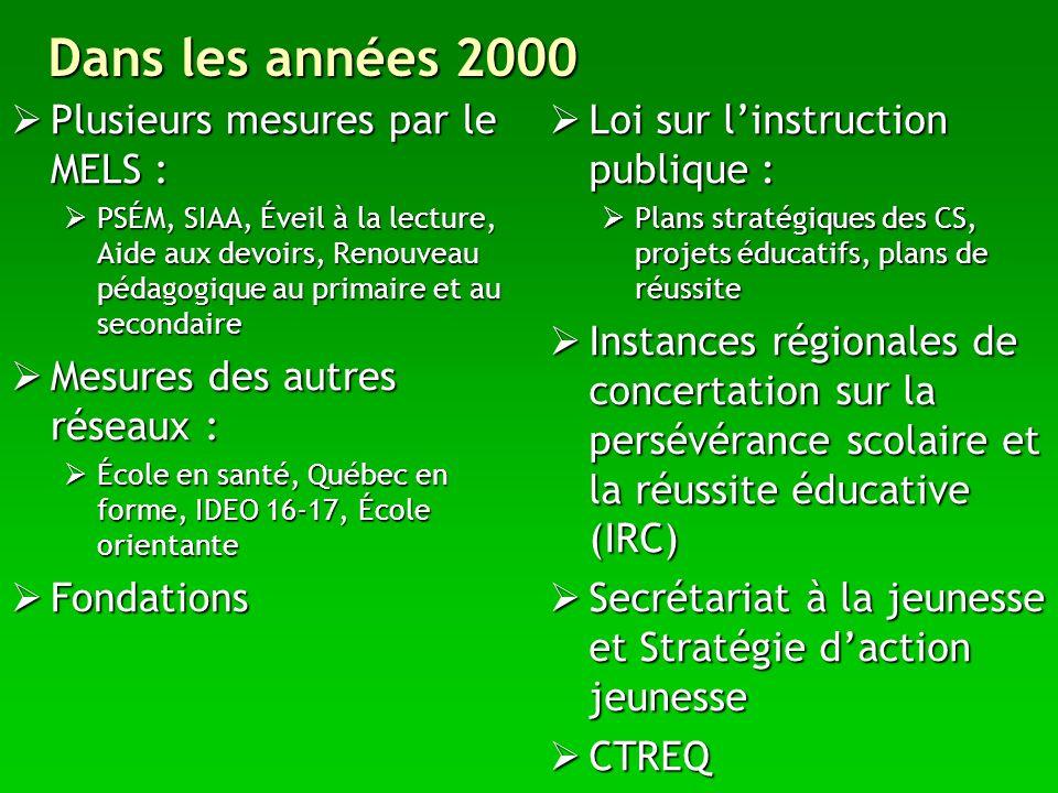 Dans les années 2000 Plusieurs mesures par le MELS :