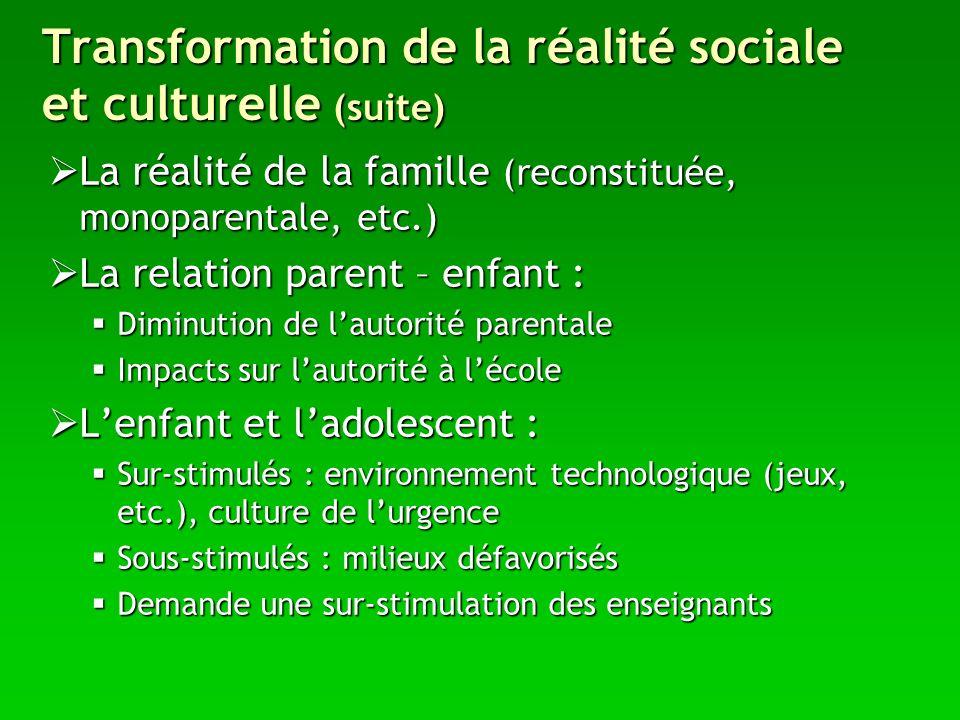 Transformation de la réalité sociale et culturelle (suite)