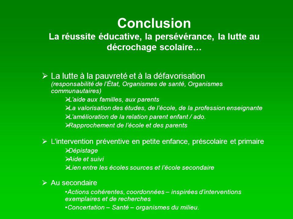 Conclusion La réussite éducative, la persévérance, la lutte au décrochage scolaire…