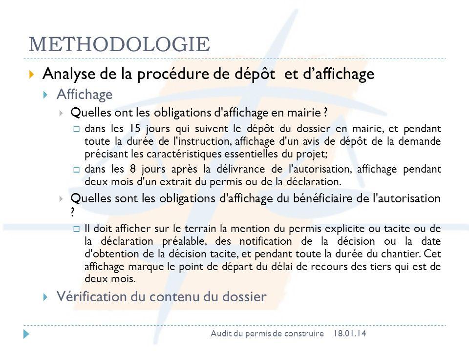 METHODOLOGIE Analyse de la procédure de dépôt et d'affichage Affichage