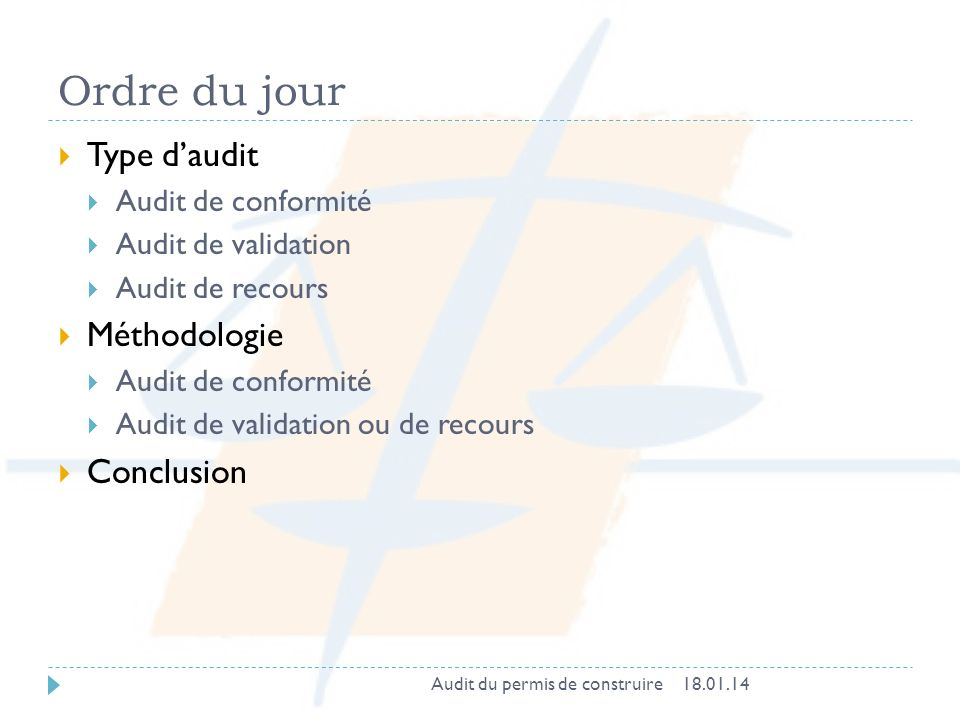 Ordre du jour Type d'audit Méthodologie Conclusion Audit de conformité