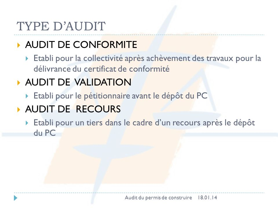 TYPE D'AUDIT AUDIT DE CONFORMITE AUDIT DE VALIDATION AUDIT DE RECOURS