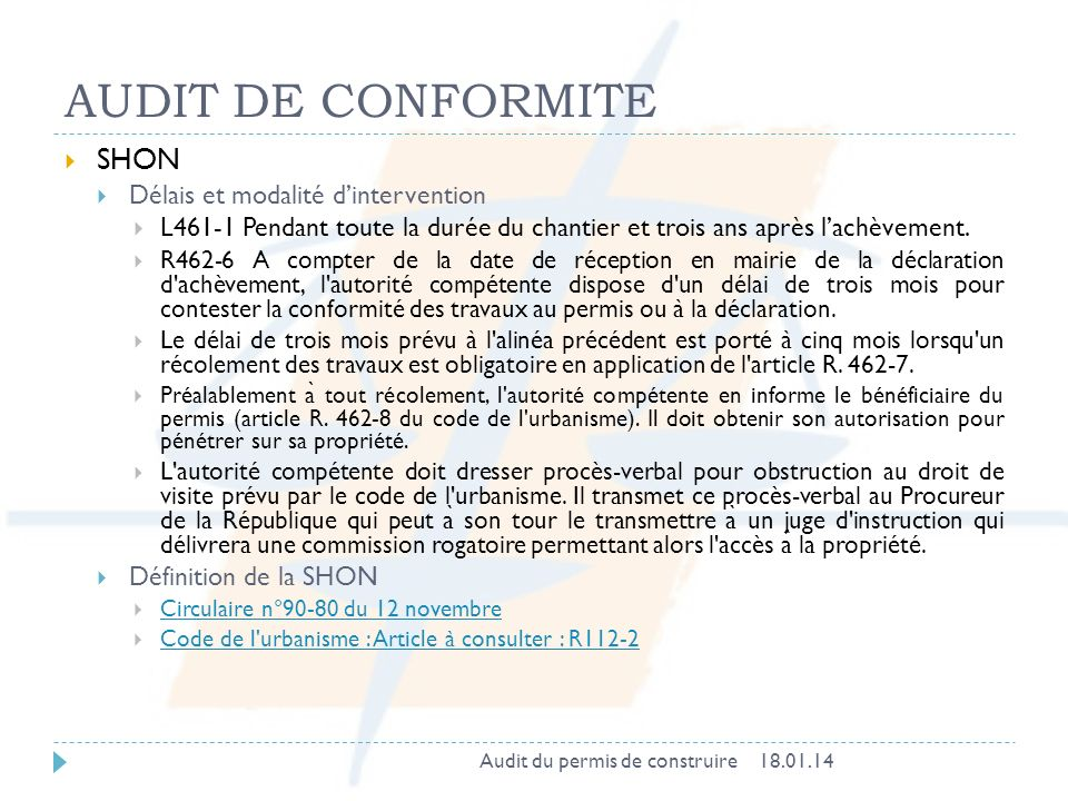 AUDIT DE CONFORMITE SHON Délais et modalité d'intervention