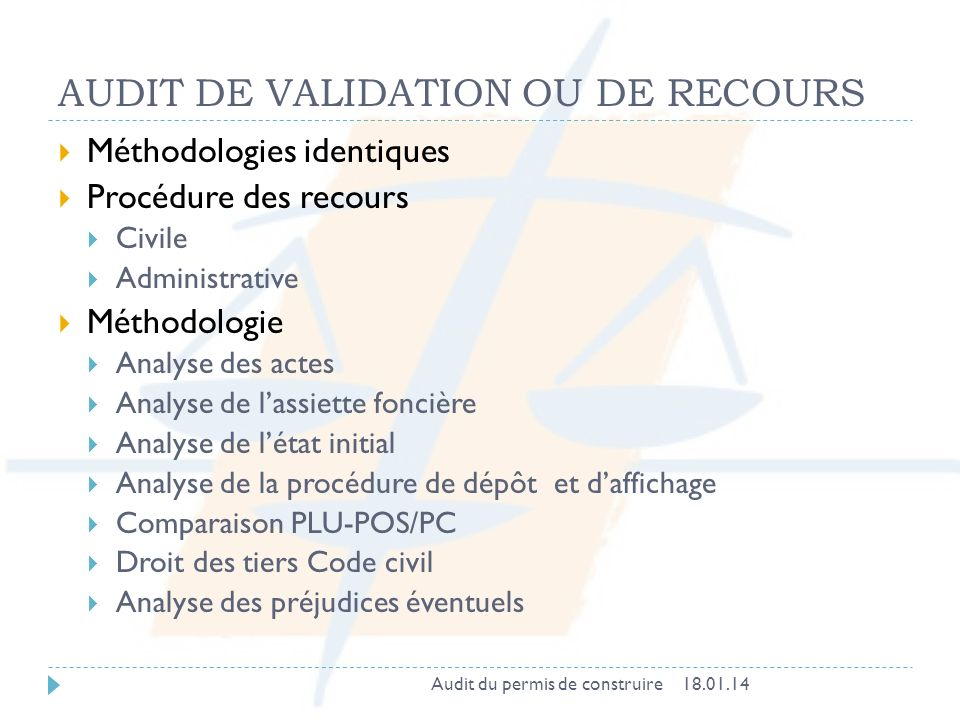 AUDIT DE VALIDATION OU DE RECOURS