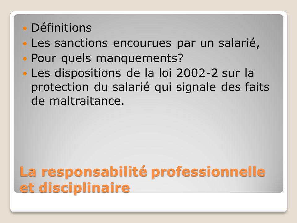 La responsabilité professionnelle et disciplinaire