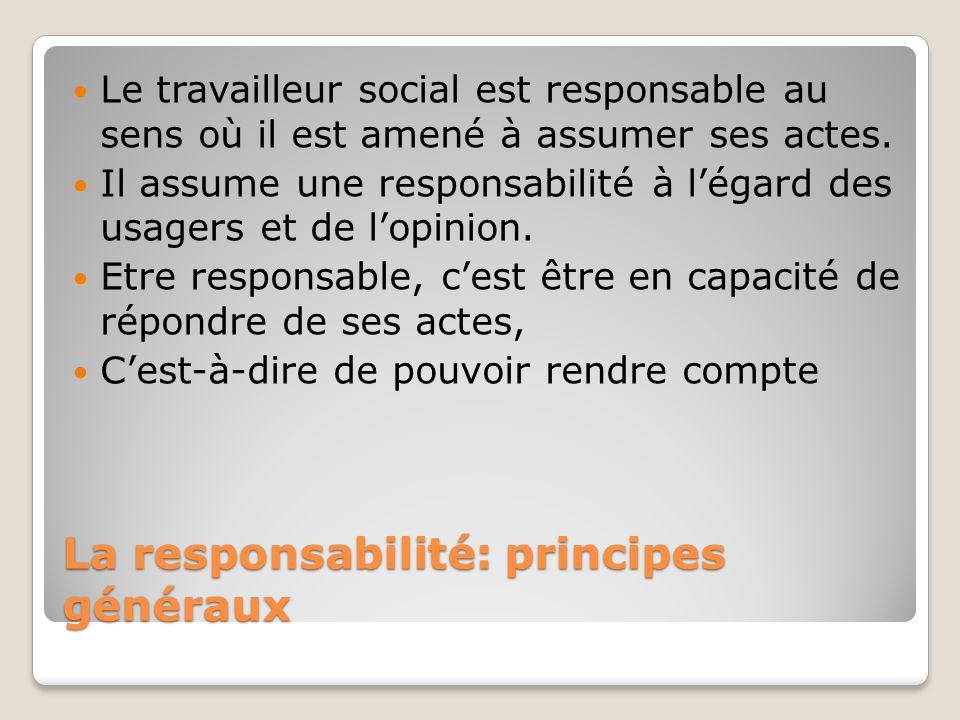 La responsabilité: principes généraux