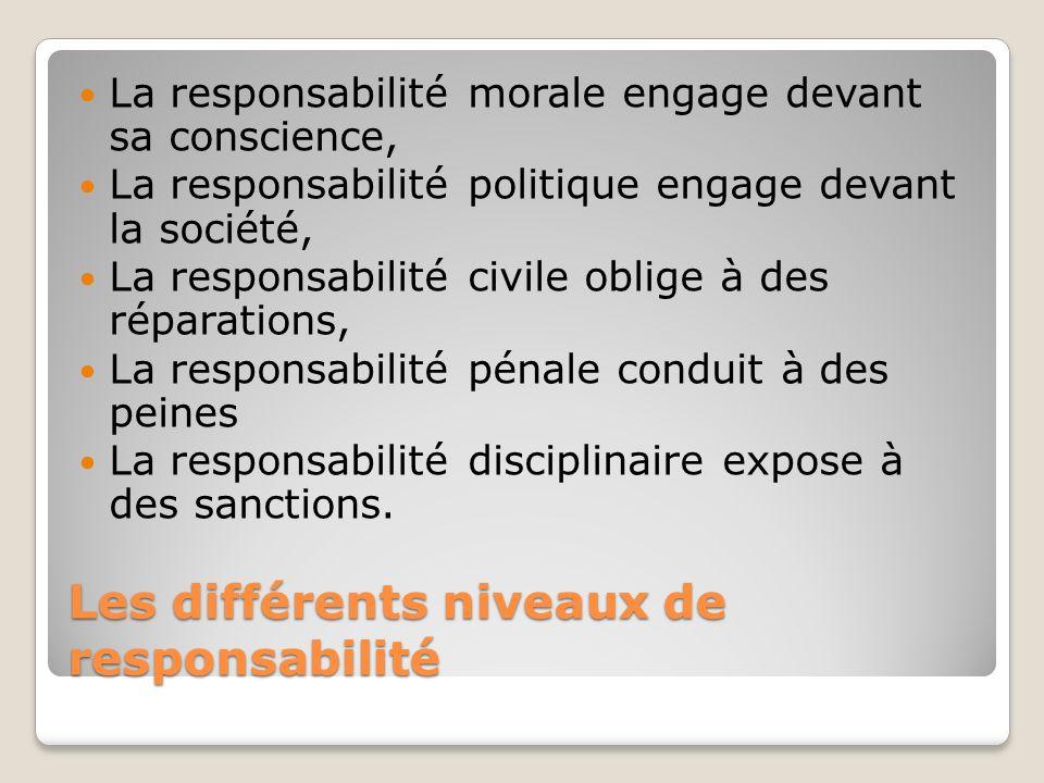 Les différents niveaux de responsabilité