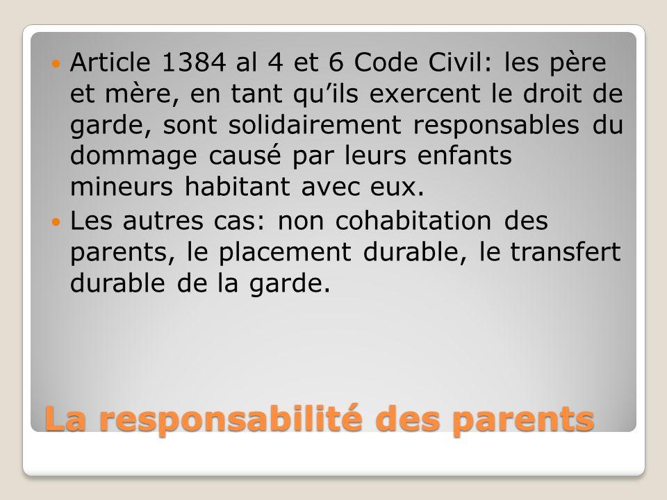 La responsabilité des parents