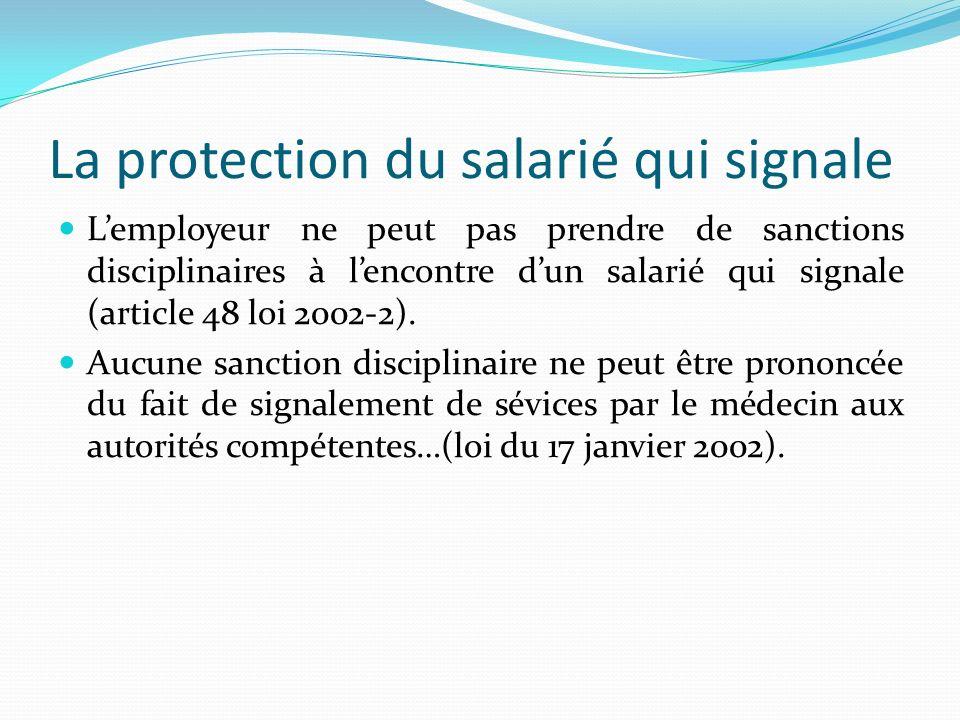 La protection du salarié qui signale
