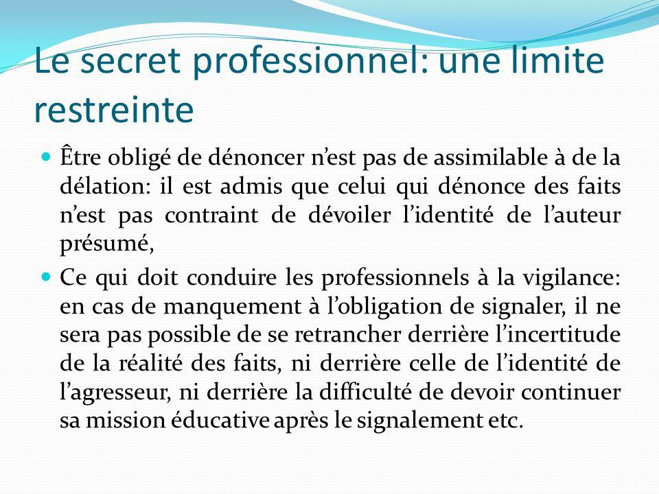 Le secret professionnel: une limite restreinte