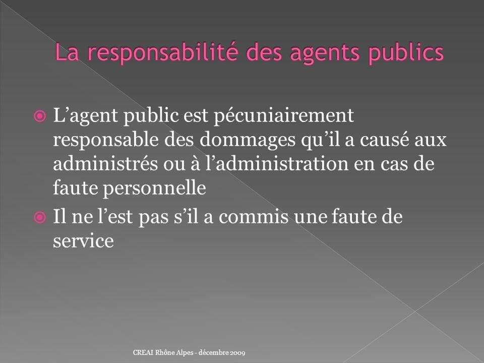 La responsabilité des agents publics