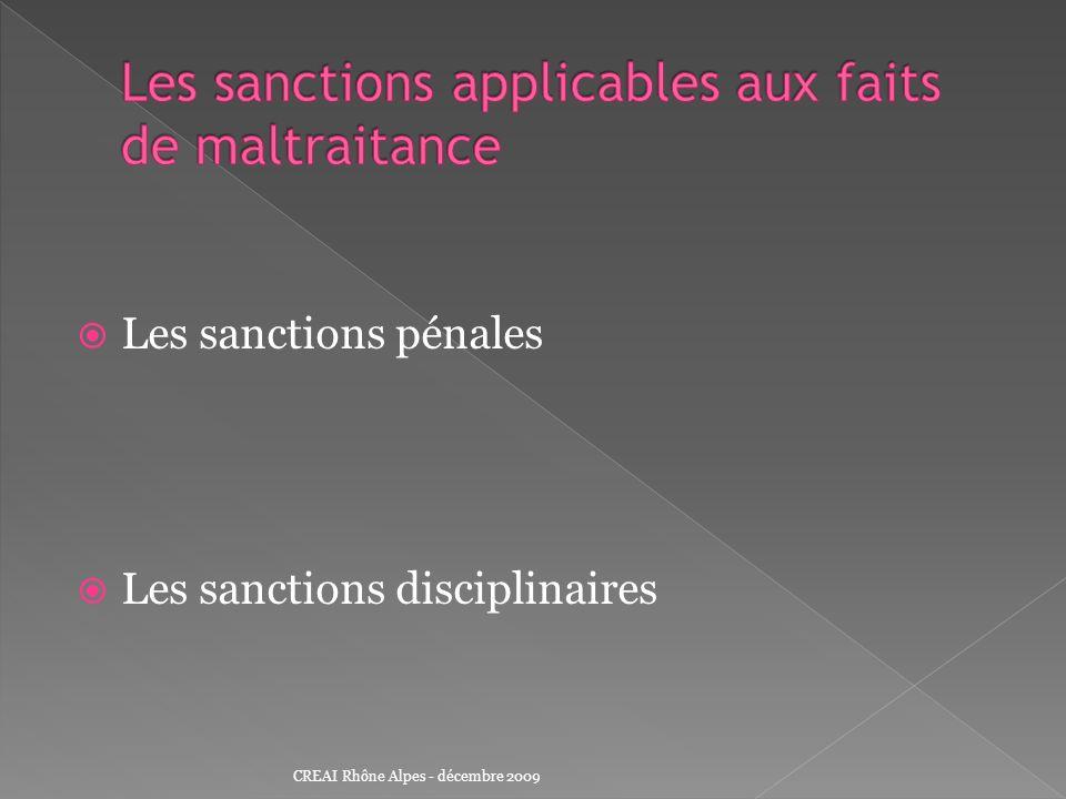 Les sanctions applicables aux faits de maltraitance