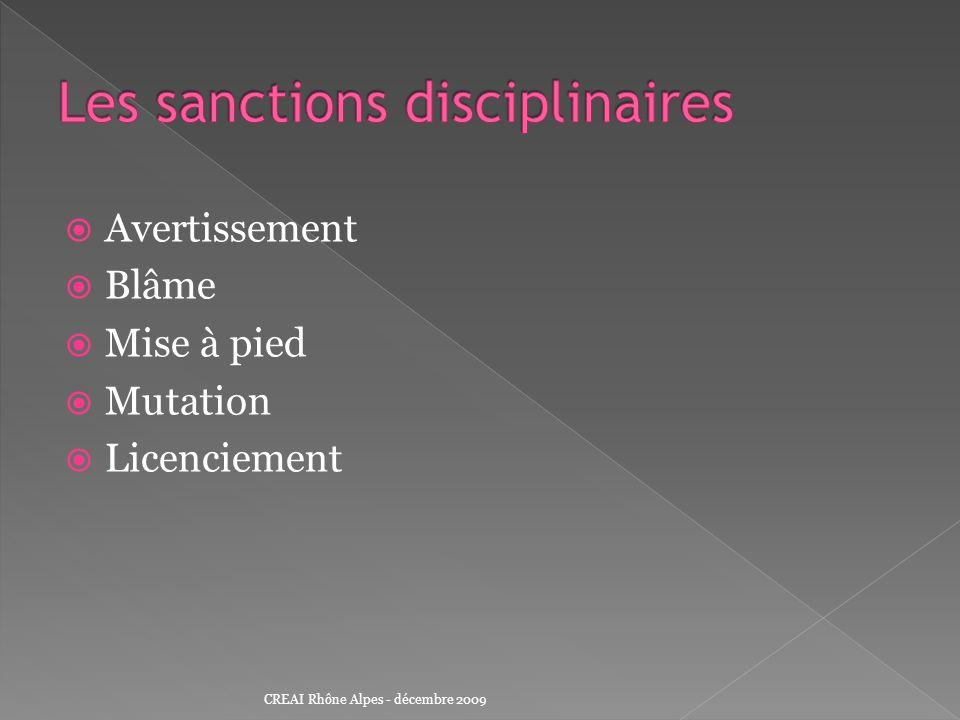 Les sanctions disciplinaires