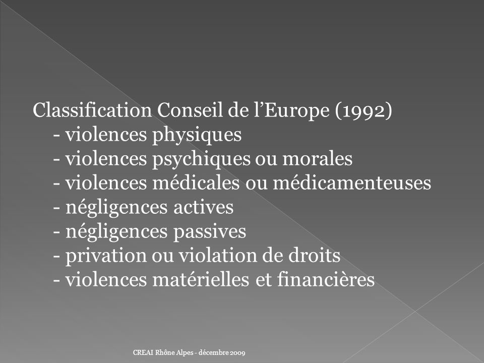 Classification Conseil de l'Europe (1992) - violences physiques