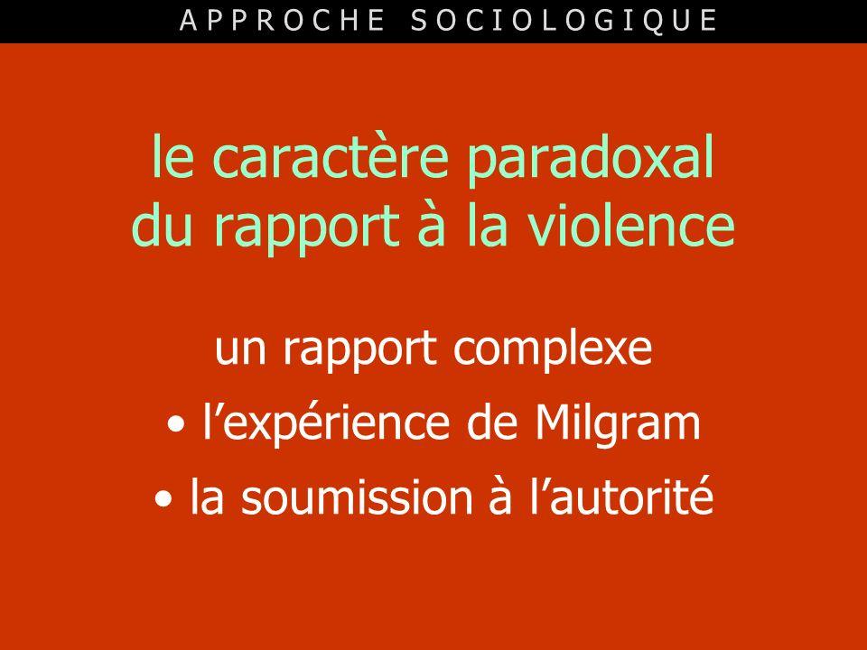 le caractère paradoxal du rapport à la violence