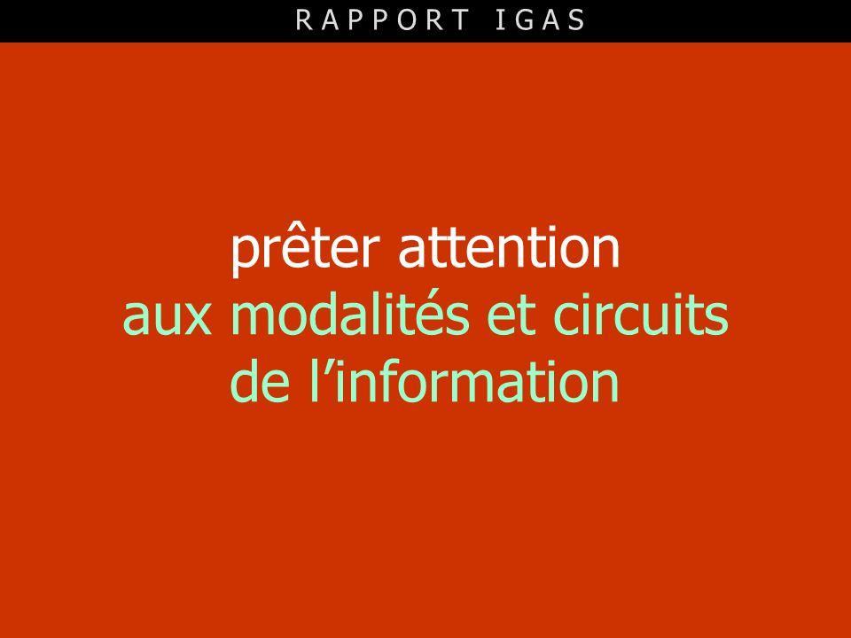 prêter attention aux modalités et circuits de l'information
