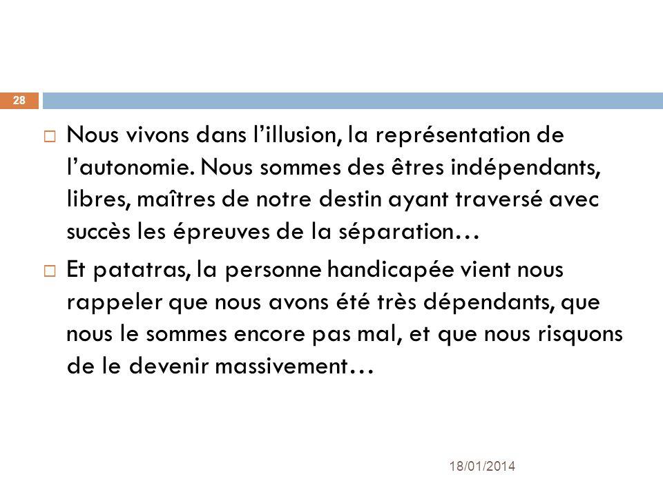 Nous vivons dans l'illusion, la représentation de l'autonomie