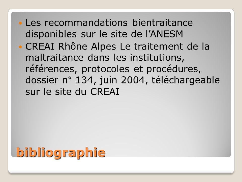 Les recommandations bientraitance disponibles sur le site de l'ANESM