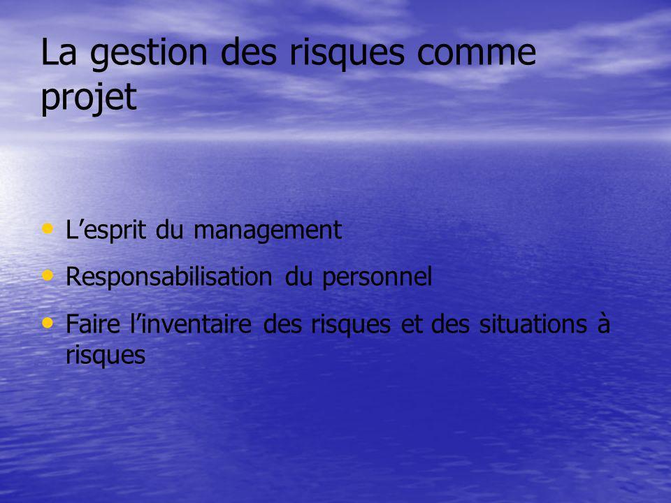 La gestion des risques comme projet