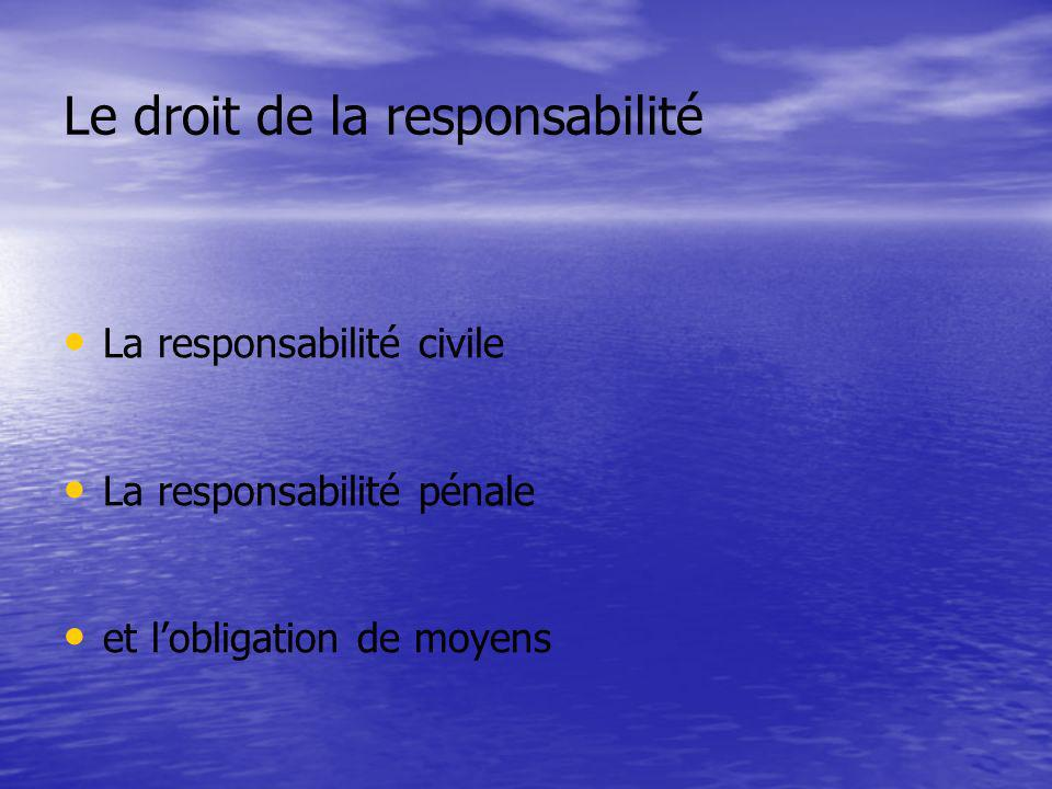 Le droit de la responsabilité