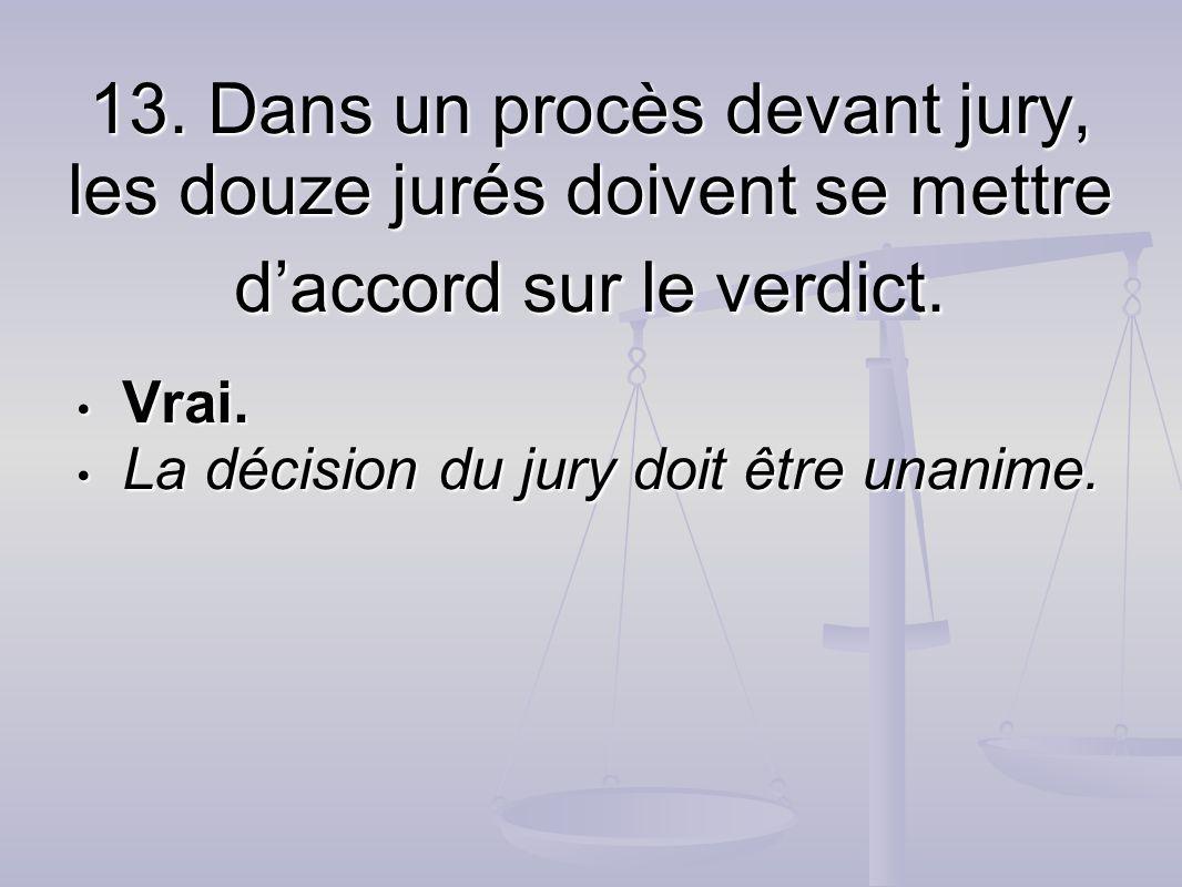 Vrai. La décision du jury doit être unanime.