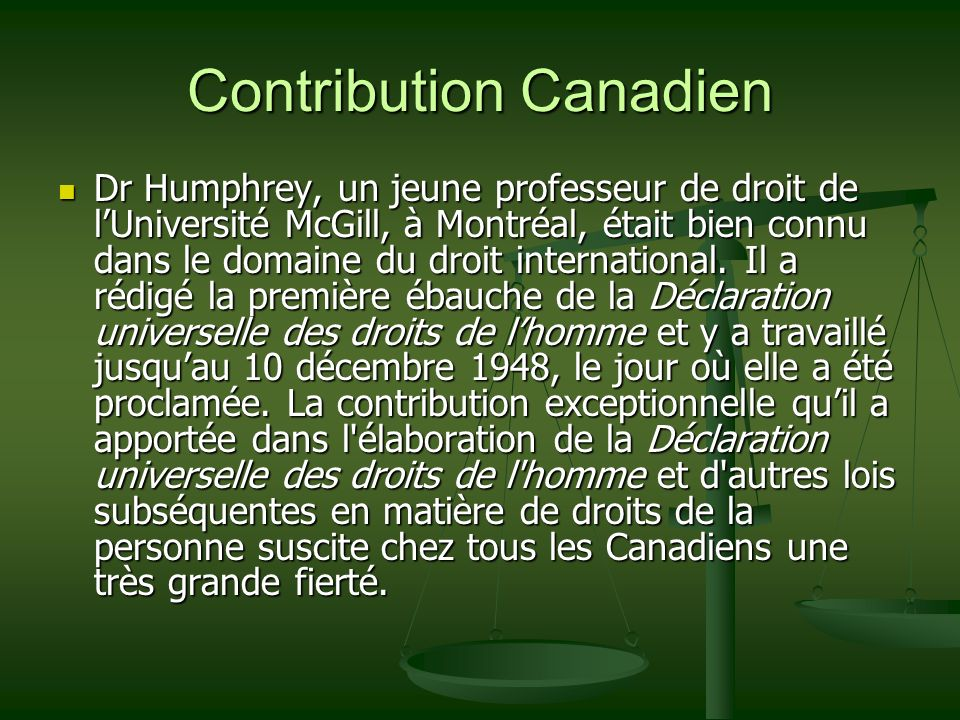 Contribution Canadien