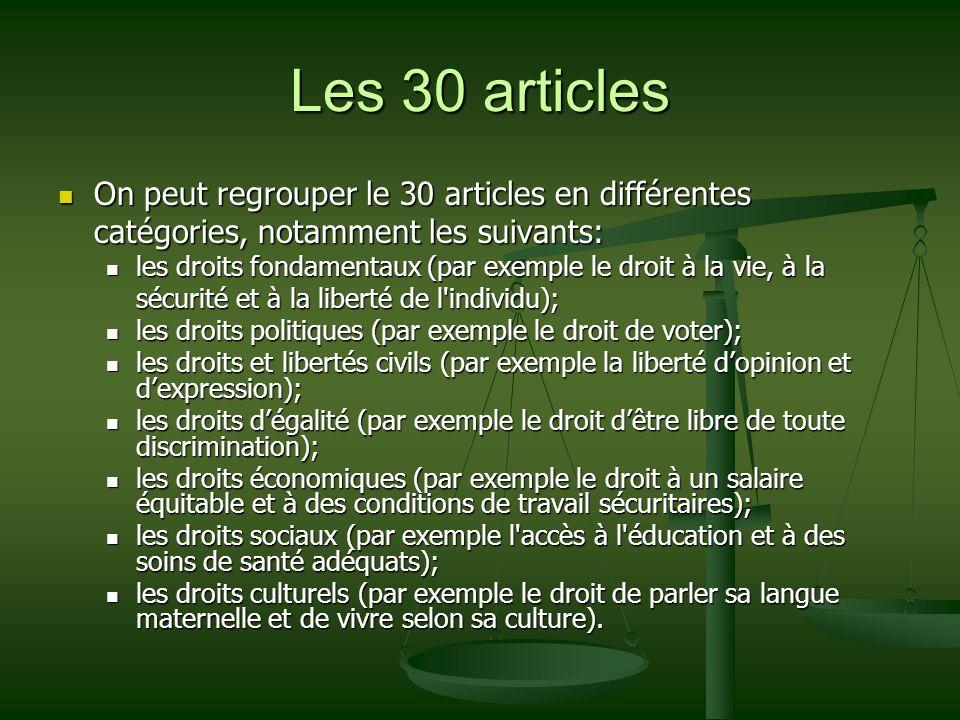 Les 30 articles On peut regrouper le 30 articles en différentes catégories, notamment les suivants: