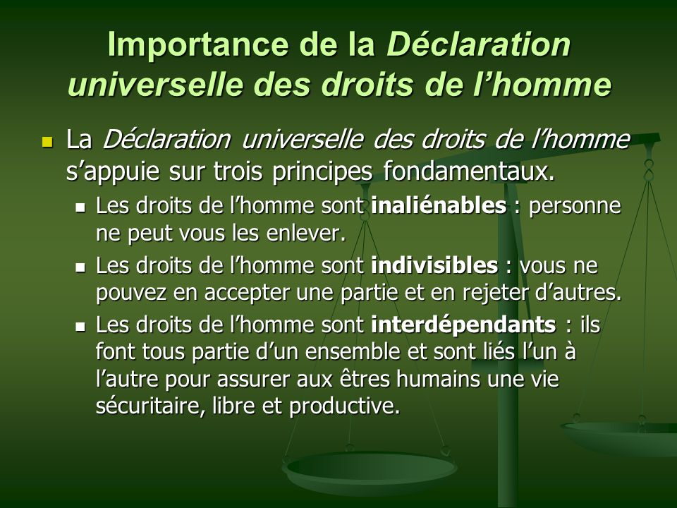 Importance de la Déclaration universelle des droits de l'homme
