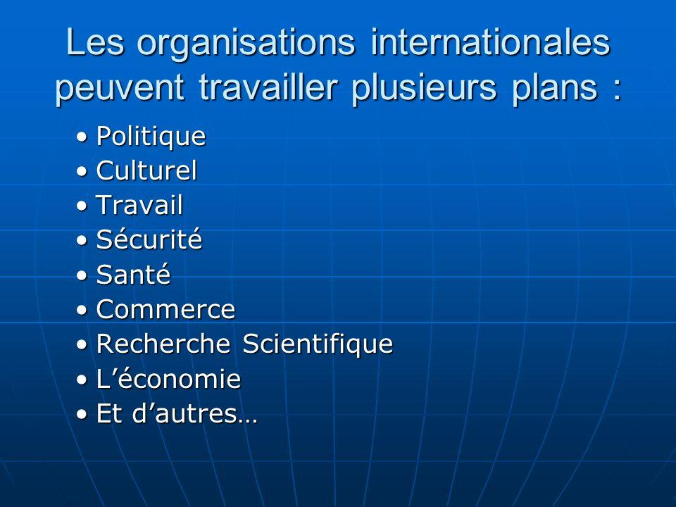 Les organisations internationales peuvent travailler plusieurs plans :