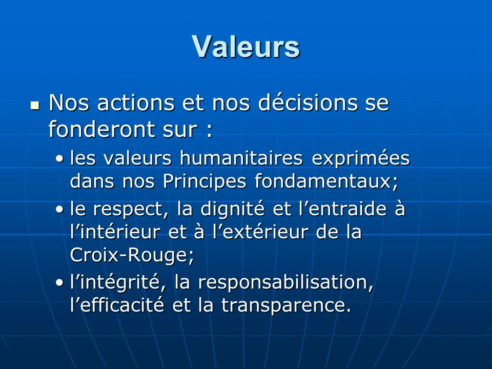 Valeurs Nos actions et nos décisions se fonderont sur :