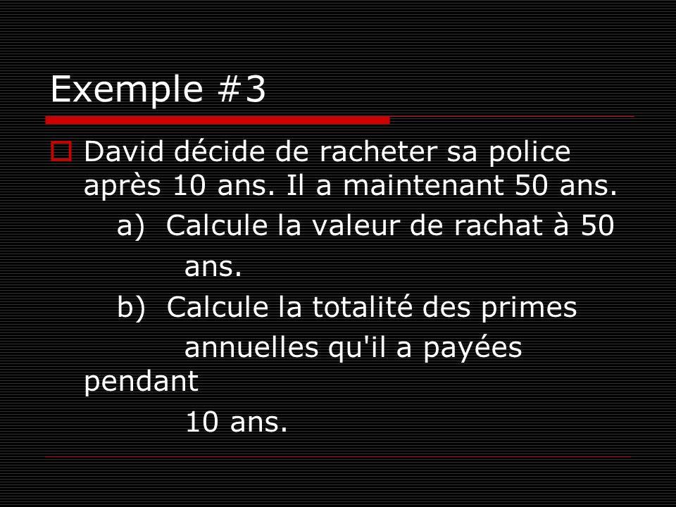 Exemple #3 David décide de racheter sa police après 10 ans. Il a maintenant 50 ans. a) Calcule la valeur de rachat à 50.