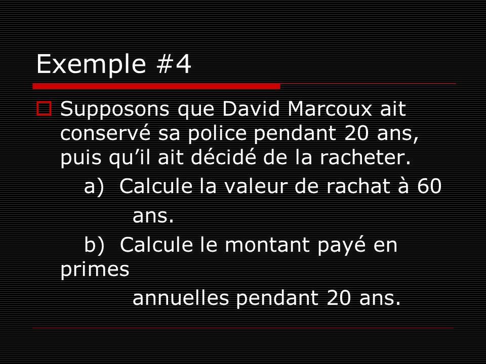 Exemple #4 Supposons que David Marcoux ait conservé sa police pendant 20 ans, puis qu'il ait décidé de la racheter.