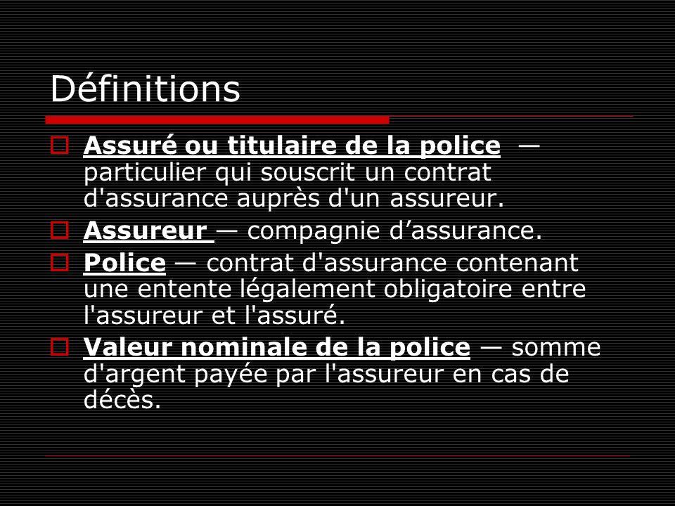 Définitions Assuré ou titulaire de la police — particulier qui souscrit un contrat d assurance auprès d un assureur.