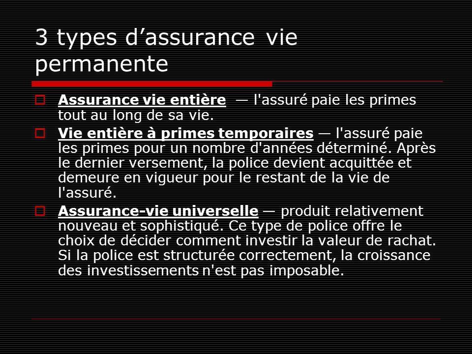 3 types d'assurance vie permanente