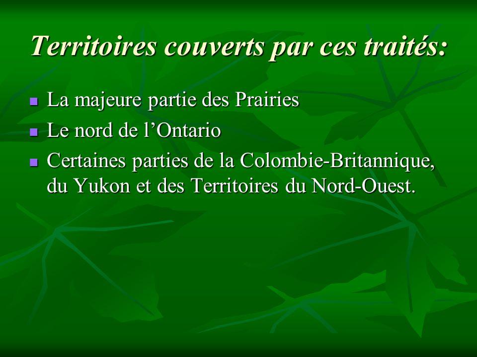 Territoires couverts par ces traités: