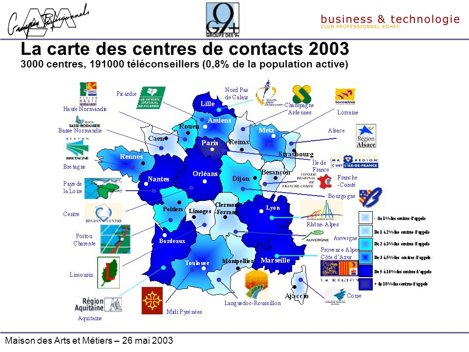 La carte des centres de contacts 2003