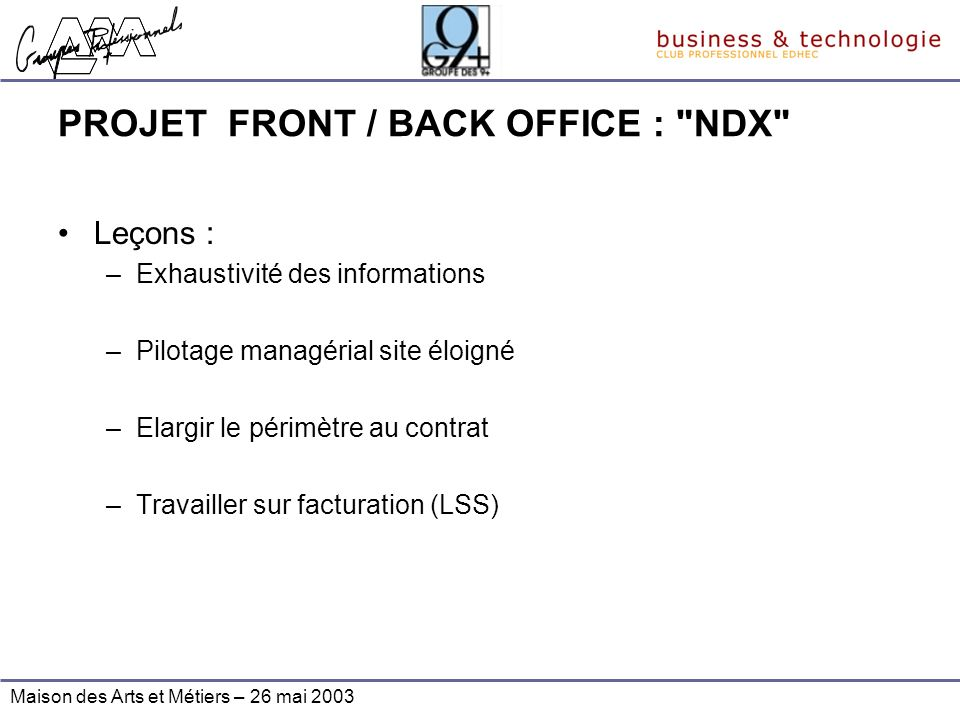 PROJET FRONT / BACK OFFICE : NDX