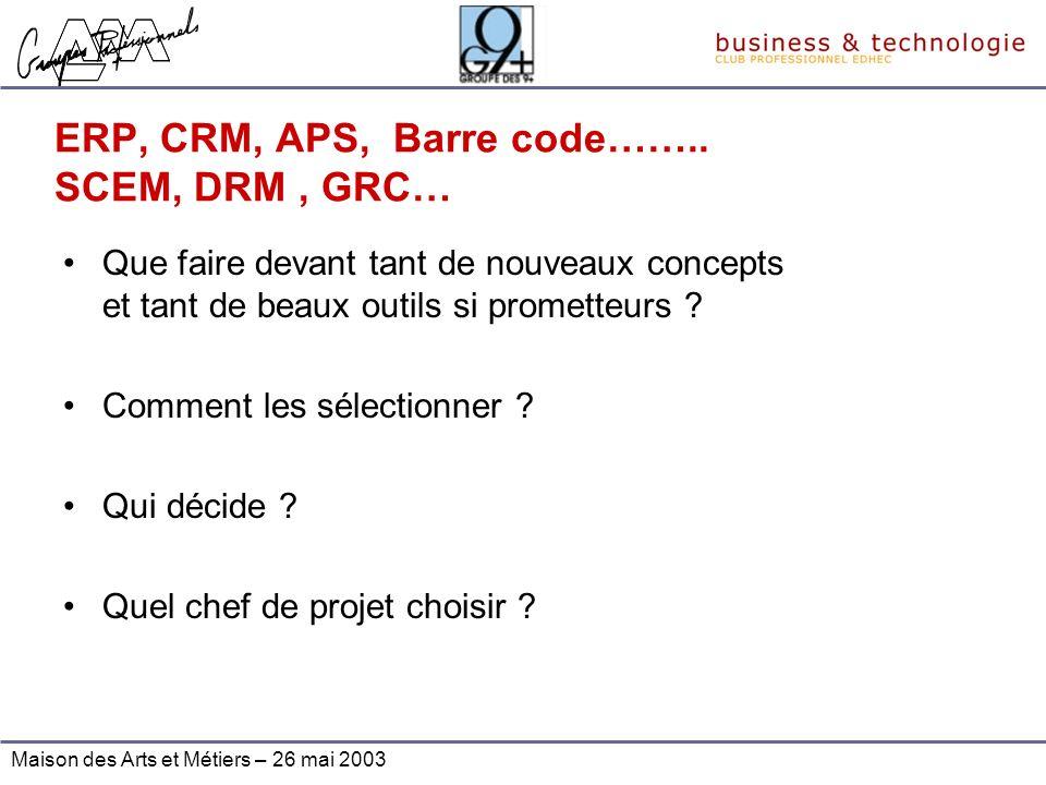 ERP, CRM, APS, Barre code…….. SCEM, DRM , GRC…