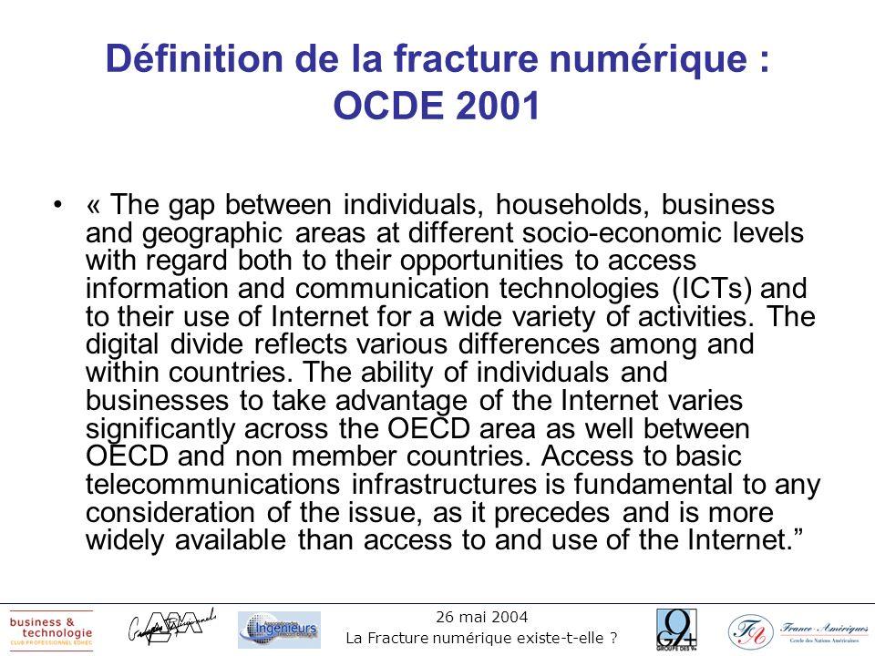 Définition de la fracture numérique : OCDE 2001