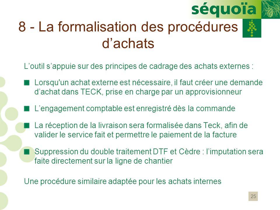 8 - La formalisation des procédures d'achats