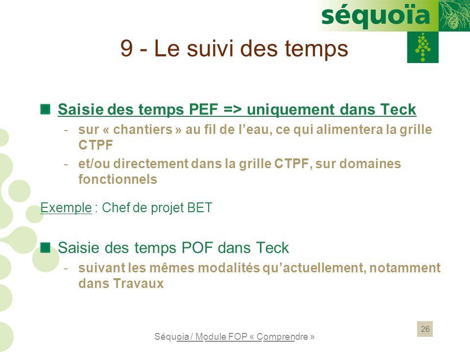 9 - Le suivi des temps Saisie des temps PEF => uniquement dans Teck